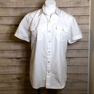 Levi's White Short Sleeve Button Down Top Large